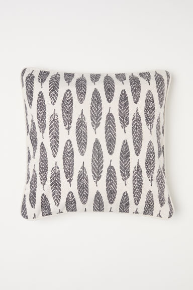 Patterned cotton cushion cover - Natural white/Feathers - Home All | H&M CN