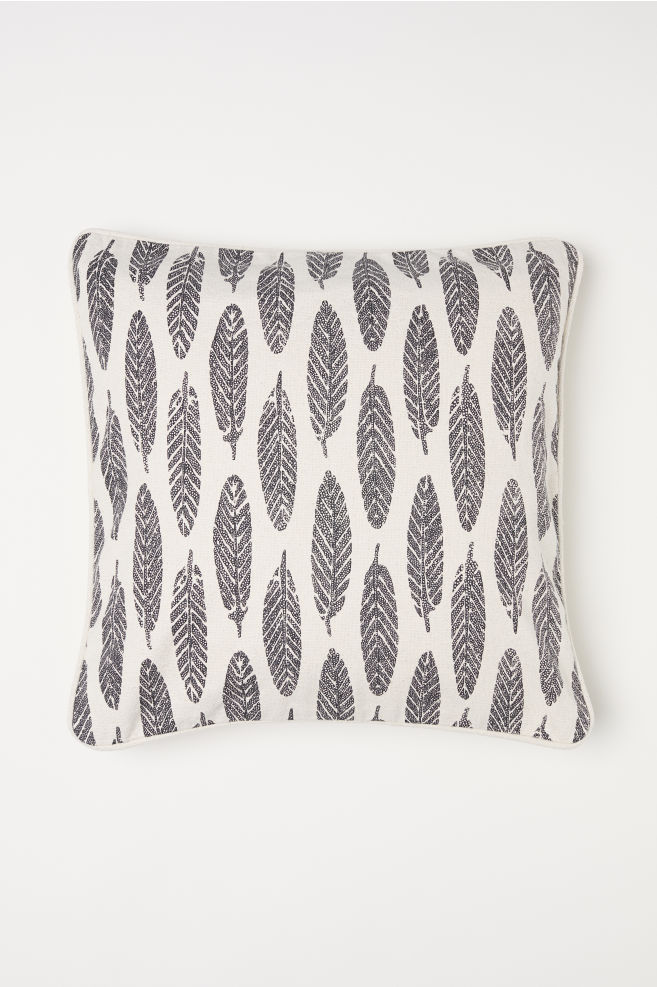 Patterned cotton cushion cover - Natural white/Feathers - Home All | H&M GB 2