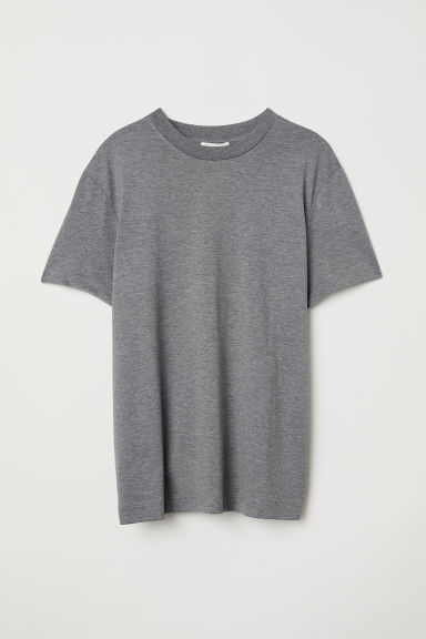 Silk-blend jersey top - Dark grey marl - Ladies | H&M