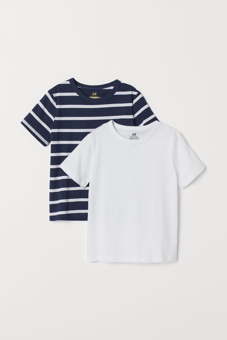 2-pack T-shirts - White/Dark blue striped - Kids | H&M CN