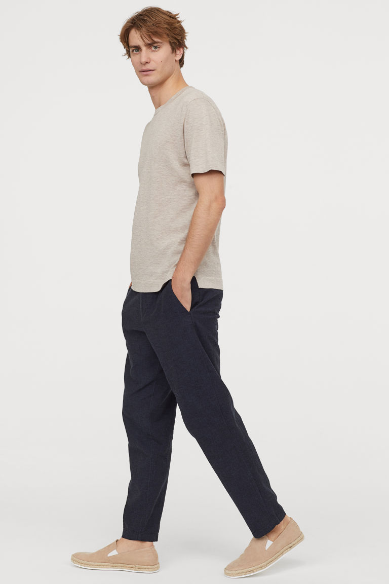 Linen-mix trousers Relaxed Fit - Dark blue marl - Men | H&M CN