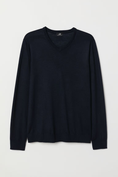V-neck merino-blend jumper - Dark blue - Men | H&M