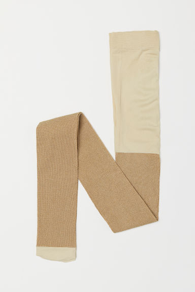 Glittery tights - Beige/Glittery gold-coloured - Kids | H&M CN