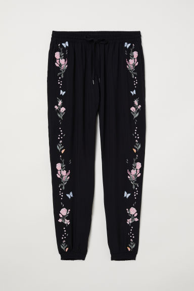Pull-on embroidered trousers - Black/Flowers -  | H&M CN