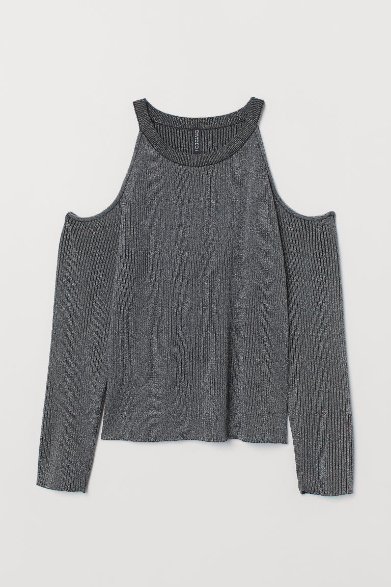 Open-shoulder Sweater - Black/silver-colored -  | H&M US