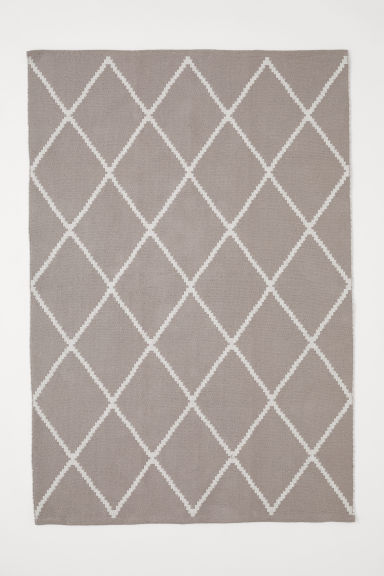 Jacquard-weave cotton rug - Light grey/White patterned - Home All | H&M CN