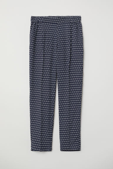 Pull-on trousers - Dark blue/Patterned - Ladies | H&M