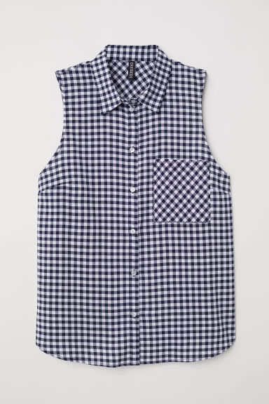 Sleeveless tie-front blouse - Dark blue/Checked - Ladies | H&M CN