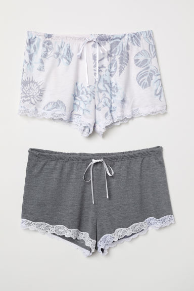 2-pack pyjama shorts - Light pink/Floral - Ladies | H&M CN