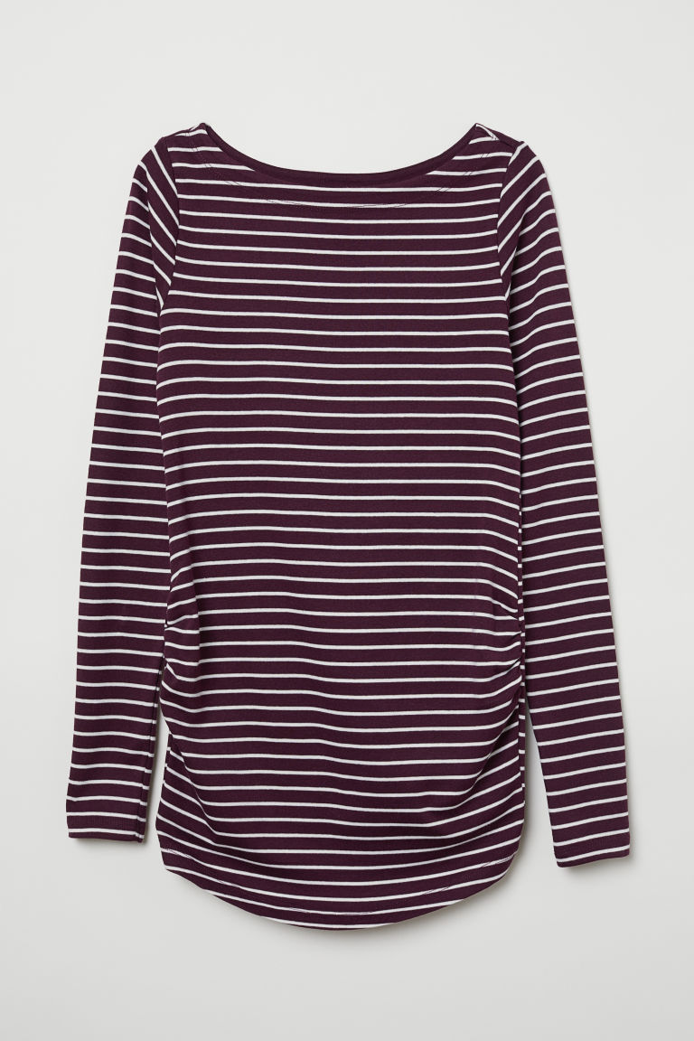 MAMA Long-sleeved jersey top - Purple/White striped - Ladies | H&M CN
