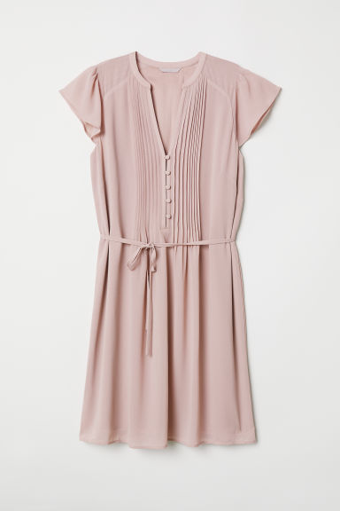 Dress with a tie belt - Powder pink - Ladies | H&M