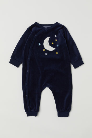 Velour all-in-one pyjamas - Dark blue/Moon - Kids | H&M CN