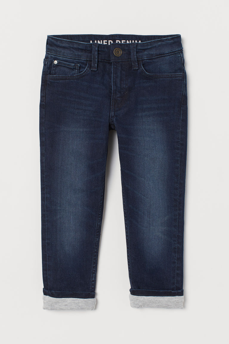 Skinny Fit Lined Jeans - Dark blue - Kids | H&M IN