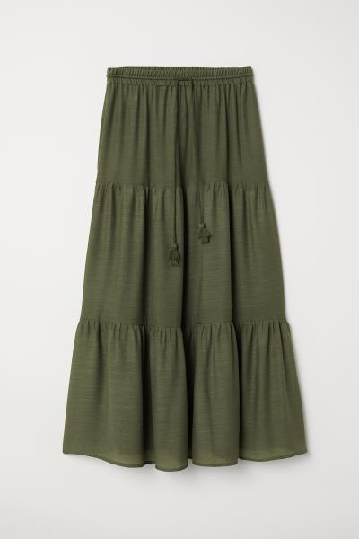 38a4ae942916 Maxi skirt - Dark khaki green -   H&M ...