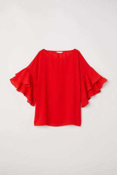 Blouse with flounced sleeves - Red - Ladies | H&M CN