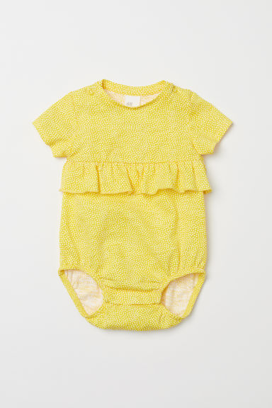 Cotton bodysuit with a frill - Yellow/Spotted -  | H&M CN