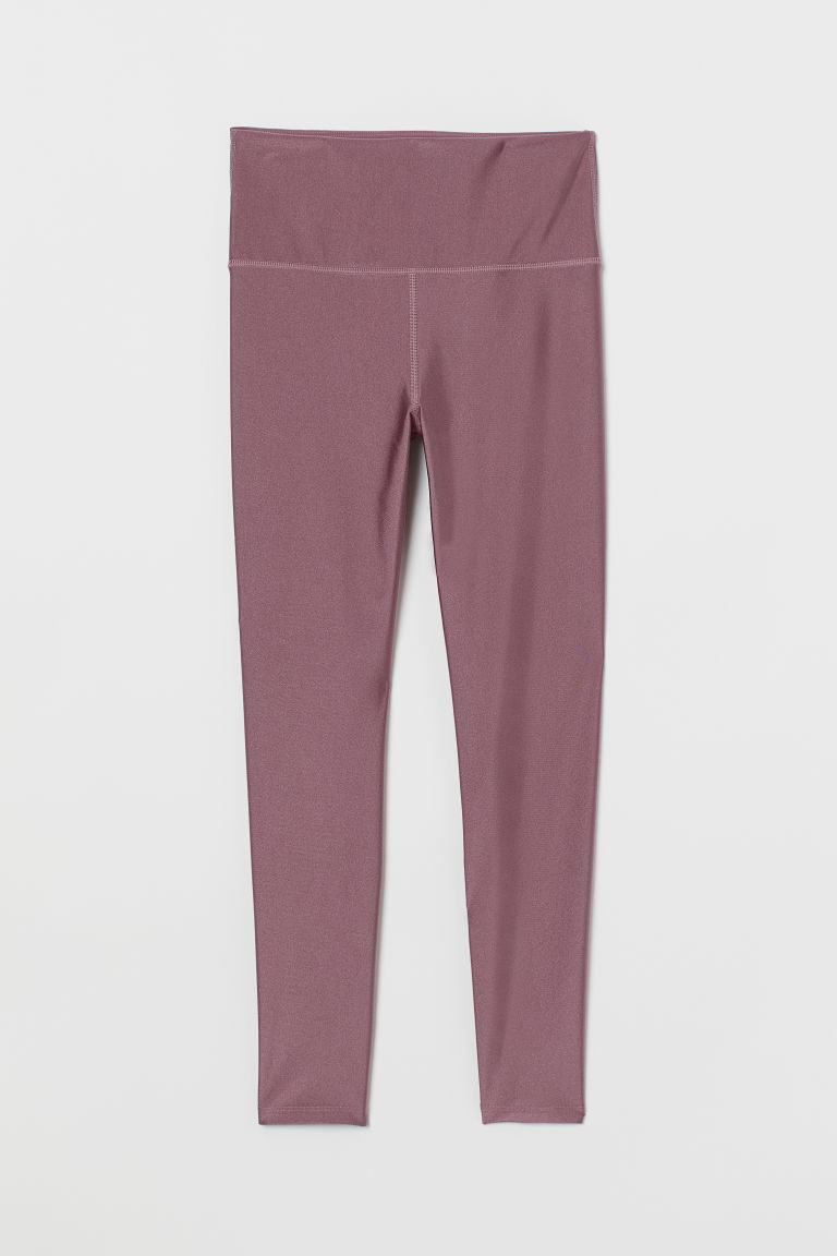 Yoga Tights - Heather/glossy - Ladies | H&M US
