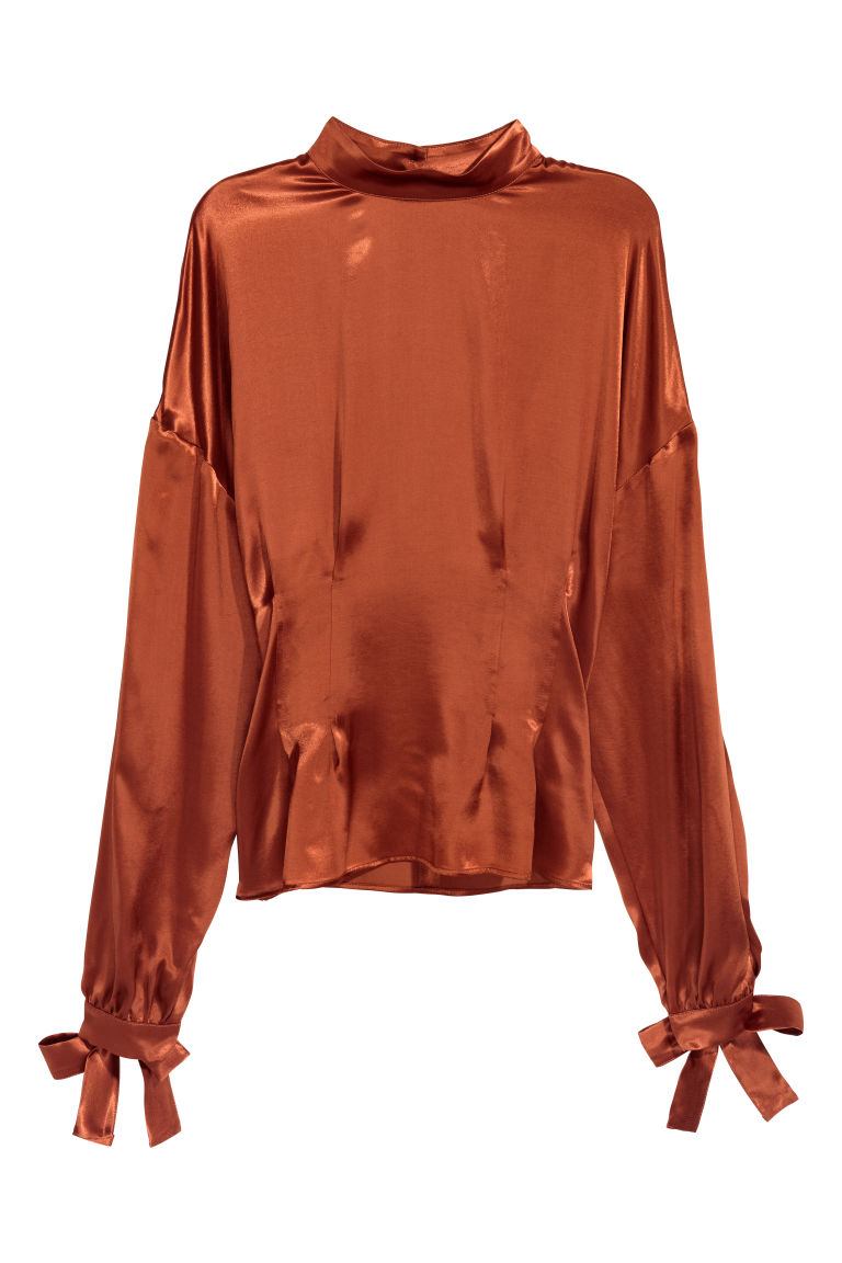 Blouse with ties - Rust brown -  | H&M CN