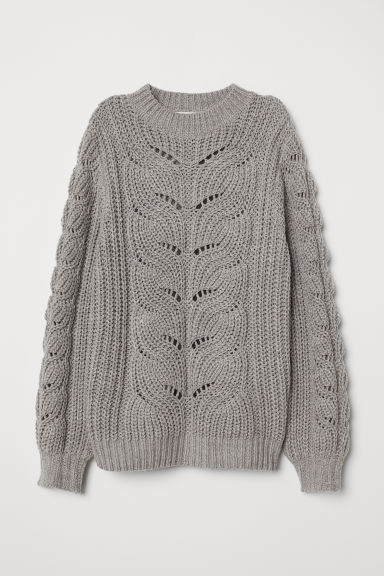 Cable-knit Sweater - Gray melange - Ladies | H&M US