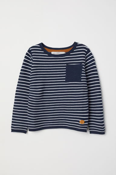 Textured-knit jumper - Dark blue/White striped - Kids | H&M
