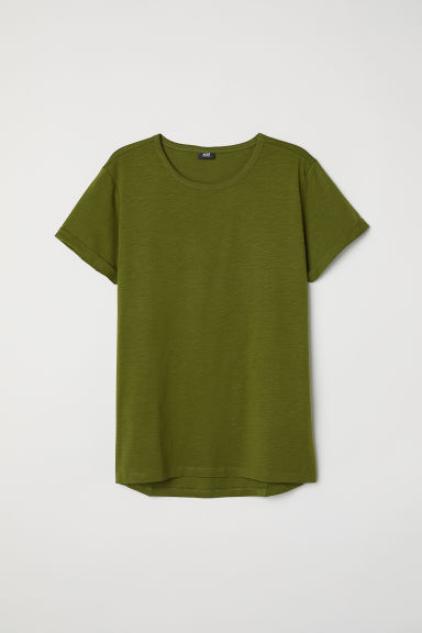Slub jersey T-shirt - Dark green - Men | H&M