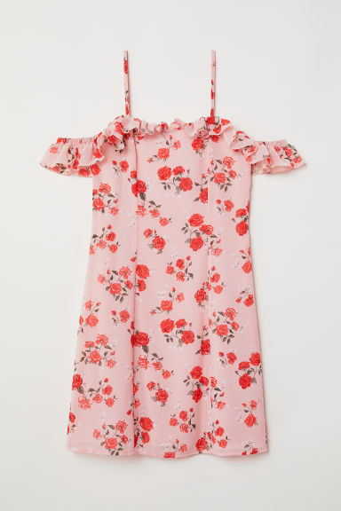 Cold shoulder dress - Powder pink/Floral -  | H&M CN