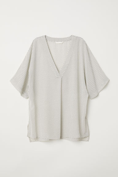 V-neck blouse - White/Black patterned - Ladies | H&M