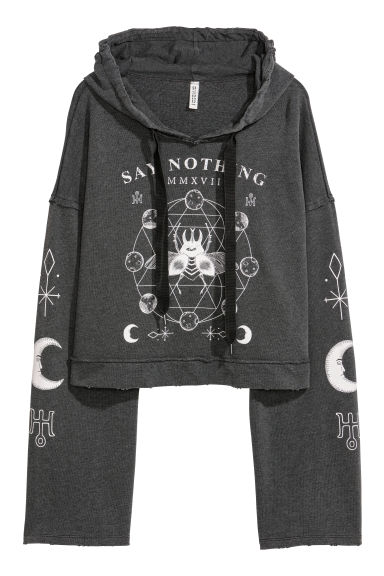 Short printed hooded top - Dark grey/Patterned -  | H&M CN