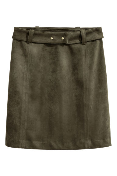 Imitation suede skirt - Dark khaki green -  | H&M IE