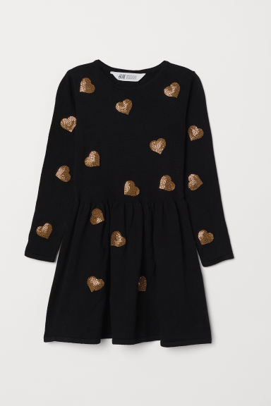 Dress with Sequined Motif - Black/heart - Kids | H&M US