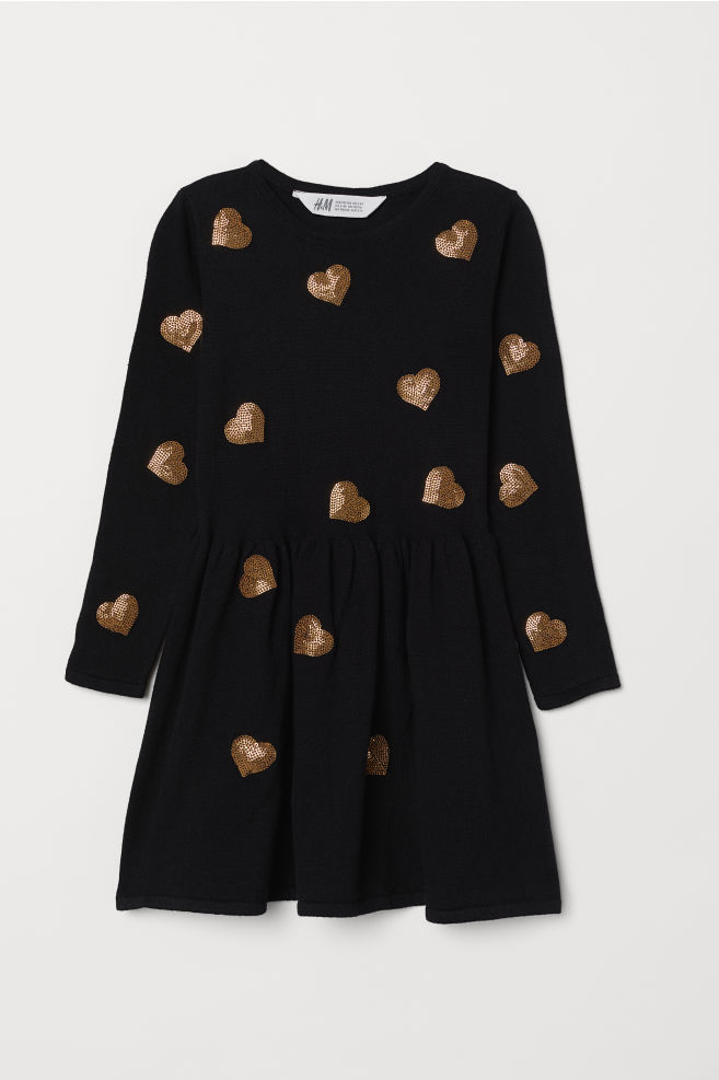 f384510eae Dress with a sequined motif - Black/Heart - Kids   H&M ...