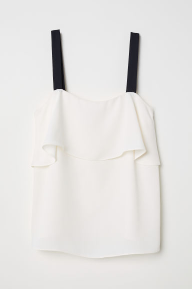 Flounced strappy top - Cream - Ladies | H&M CN