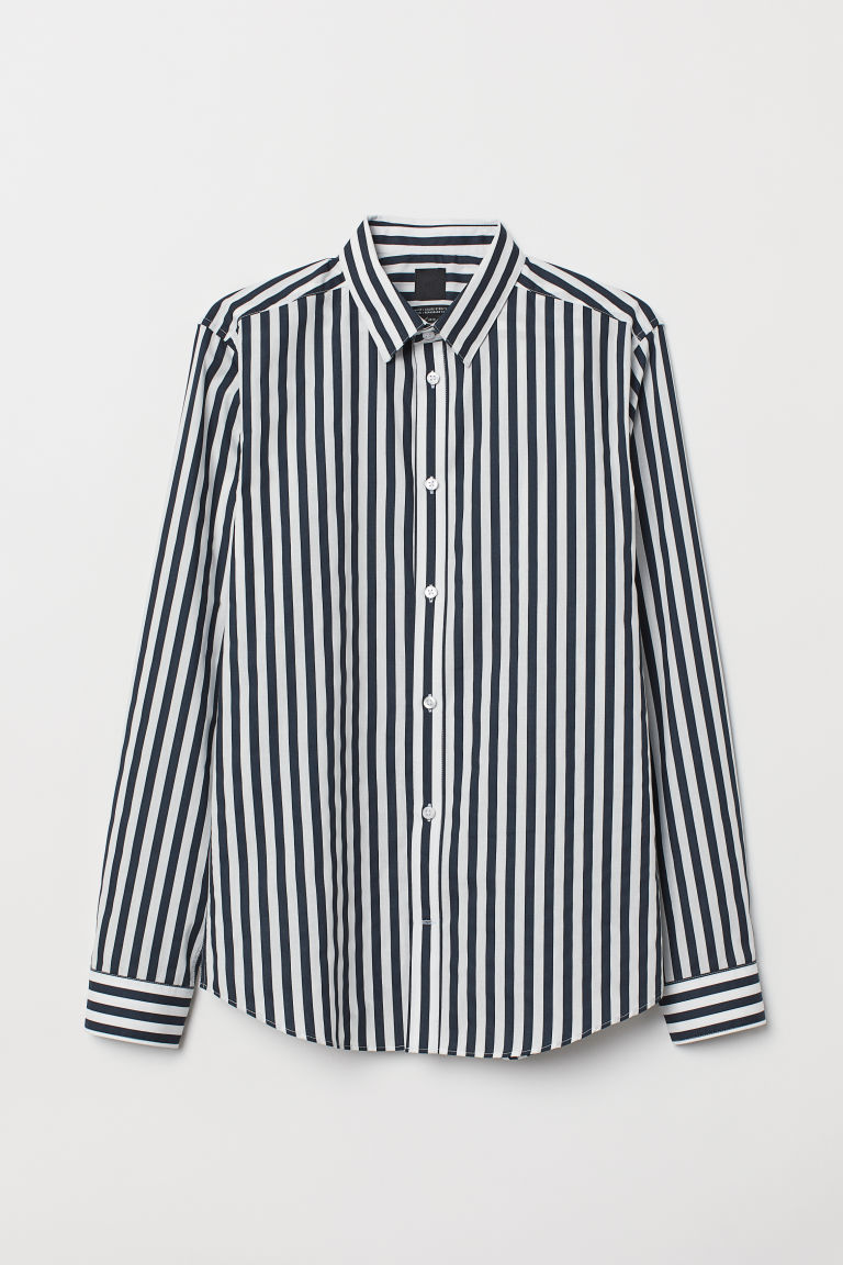 Easy-iron shirt Slim fit - Black/White striped - Men | H&M