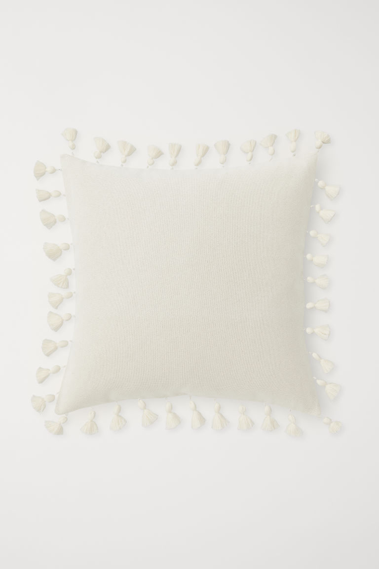 Cushion cover with tassels - Light beige - Home All | H&M GB