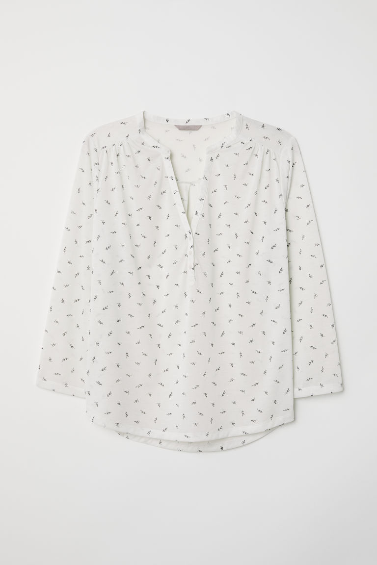 H&M+ V-neck top - White/Patterned - Ladies | H&M