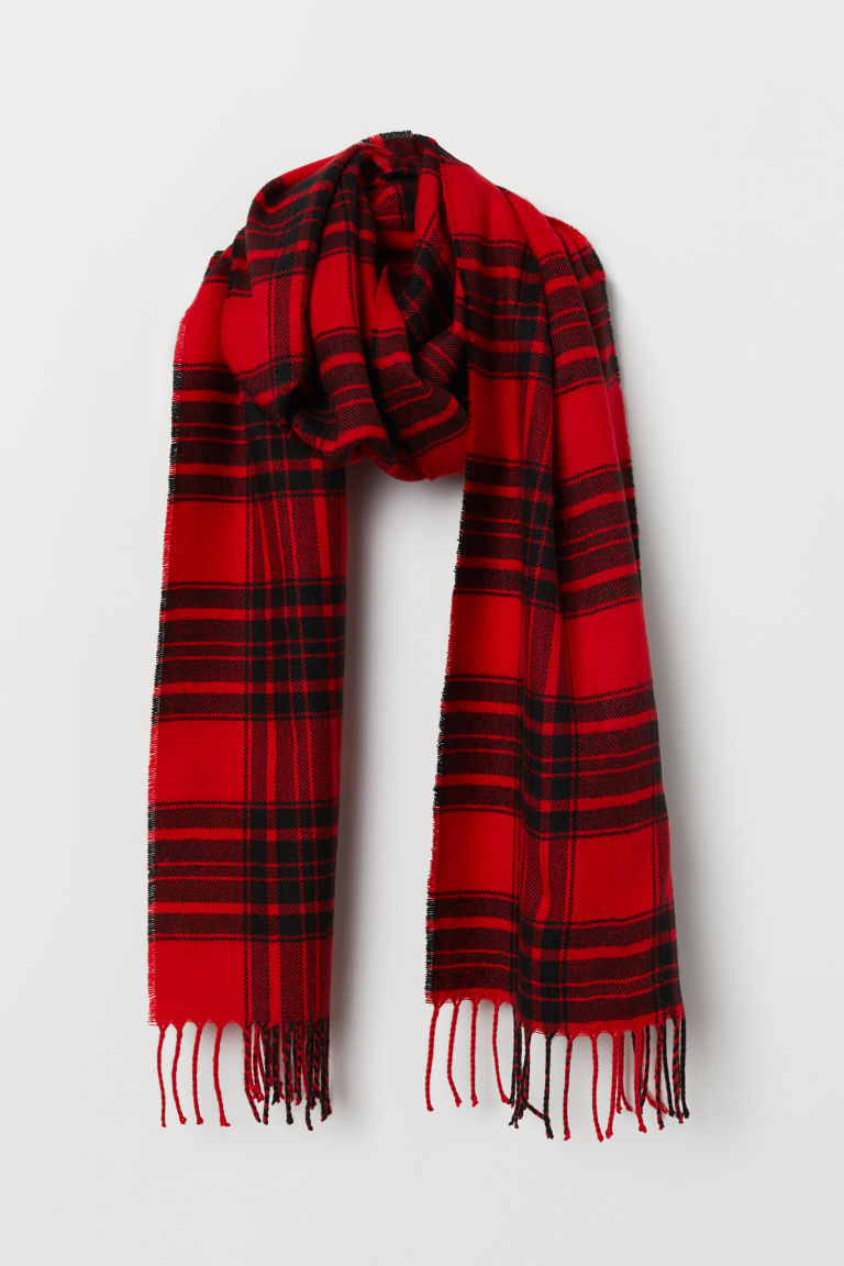 Checked scarf - Red/Black -  | H&M CN