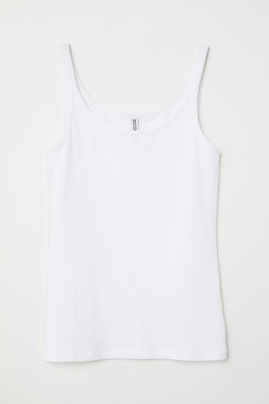 Jersey vest top - White - Ladies | H&M