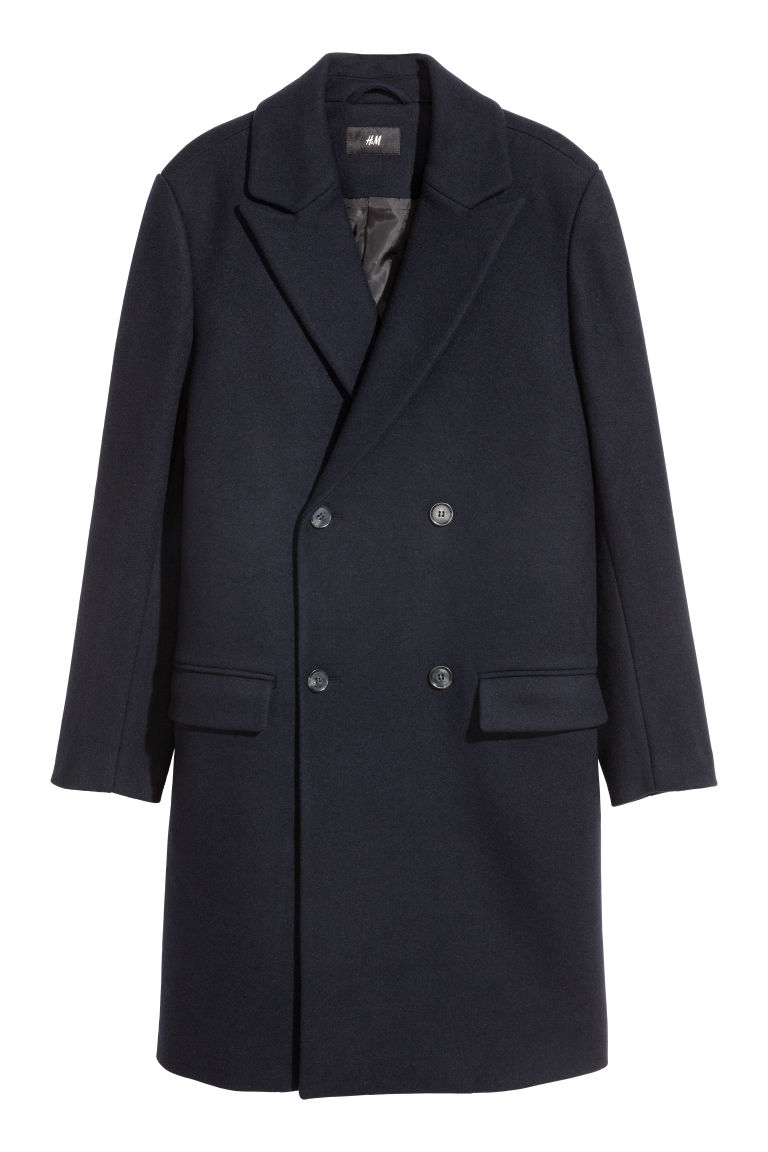 Double-breasted coat - Dark blue - Men | H&M GB