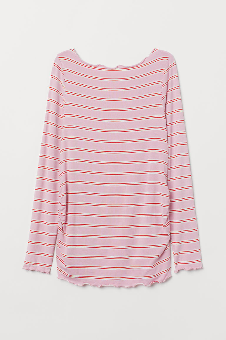 MAMA Long-sleeved jersey top - Pink/Red striped - Ladies | H&M CN