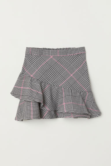 Flounced skirt - Black/Dogtooth-patterned - Kids | H&M