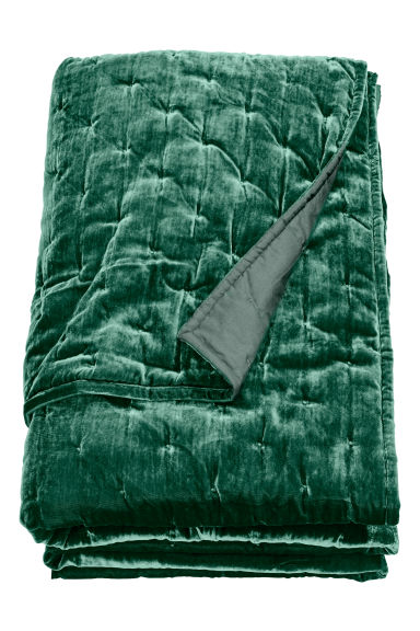 Velvet bedspread - Emerald green - Home All | H&M CN