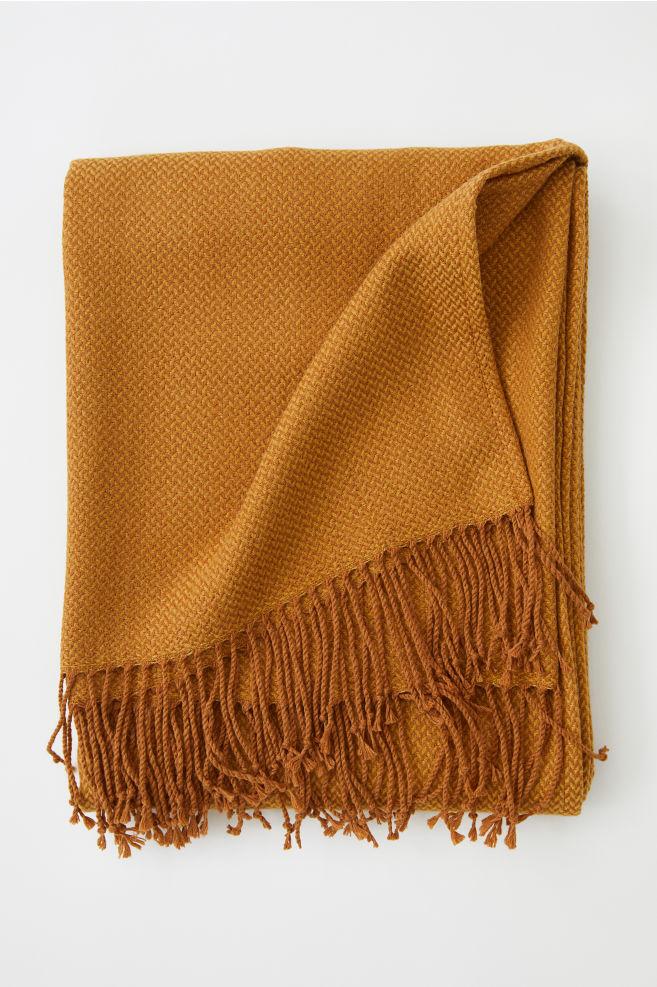 Jacquard-weave Throw - Dark yellow - Home All | H&M US 1