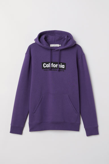 Hooded top with a motif - Purple/California - Men | H&M CN