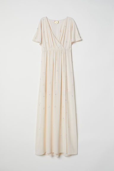 Wrap dress with embroidery - Light beige - Ladies | H&M CN