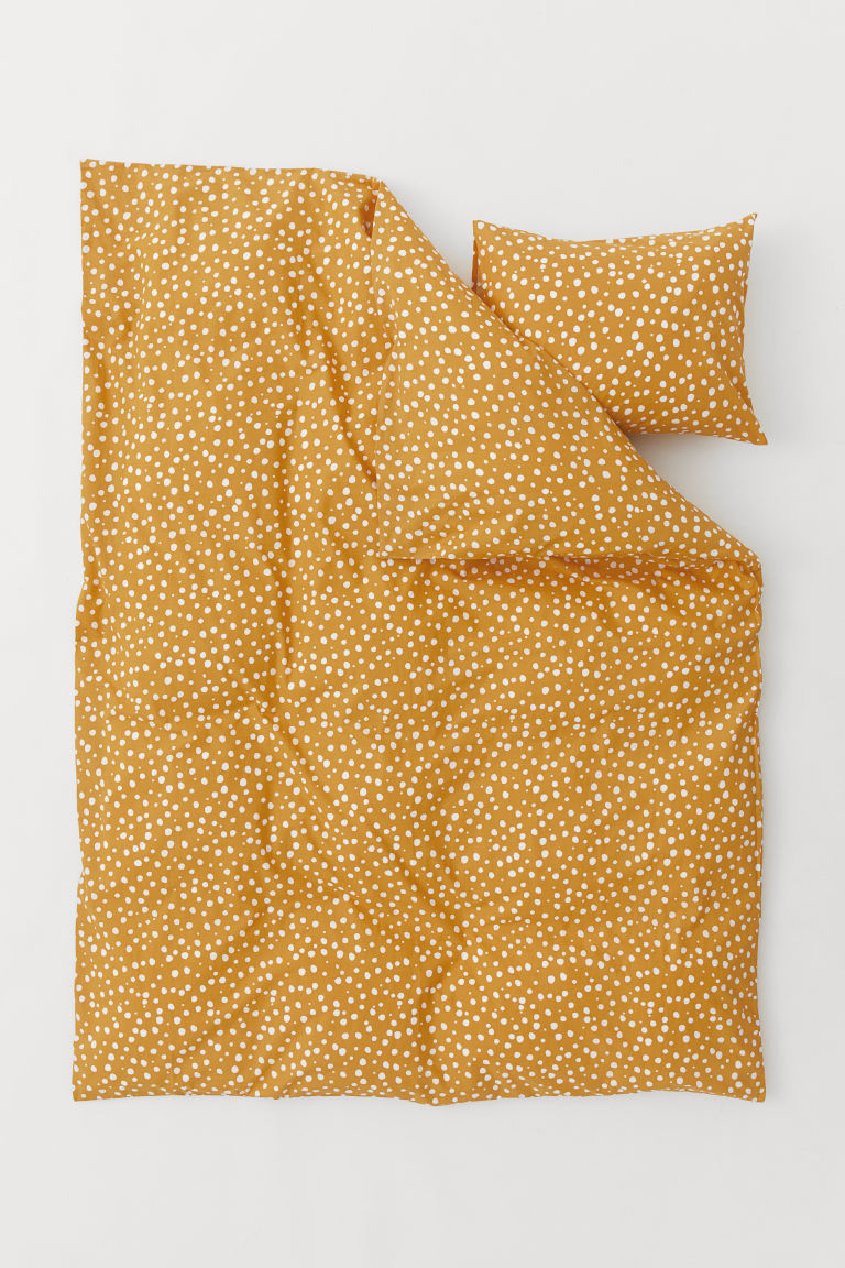 Patterned duvet cover set - Dark yellow - Home All | H&M GB