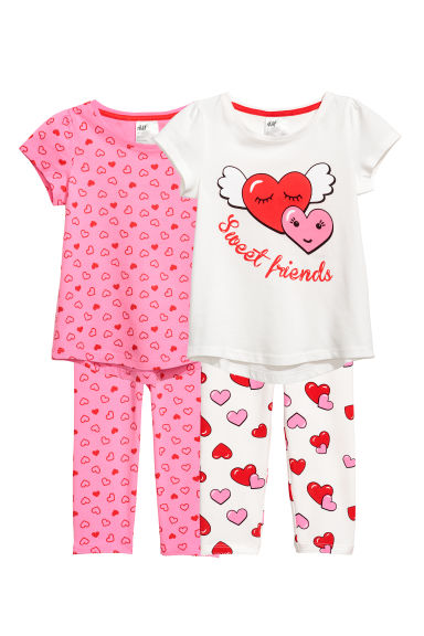 2-pack pyjamas - Natural white/Hearts - Kids | H&M
