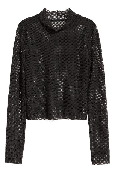 Mesh top - Black - Ladies | H&M CN