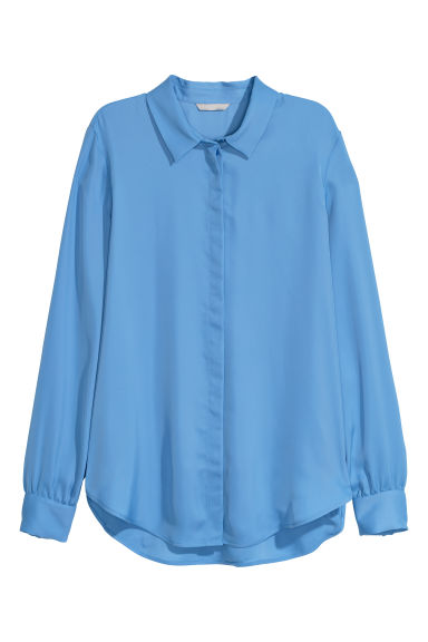 Long-sleeved blouse - Sky blue - Ladies | H&M CN