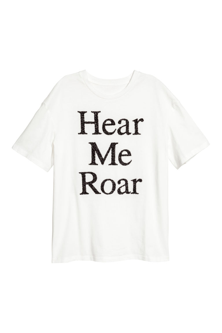Beaded top - White/Hear me roar - Ladies | H&M