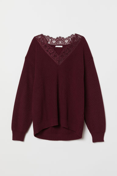 Knitted jumper with lace - Burgundy - Ladies | H&M GB